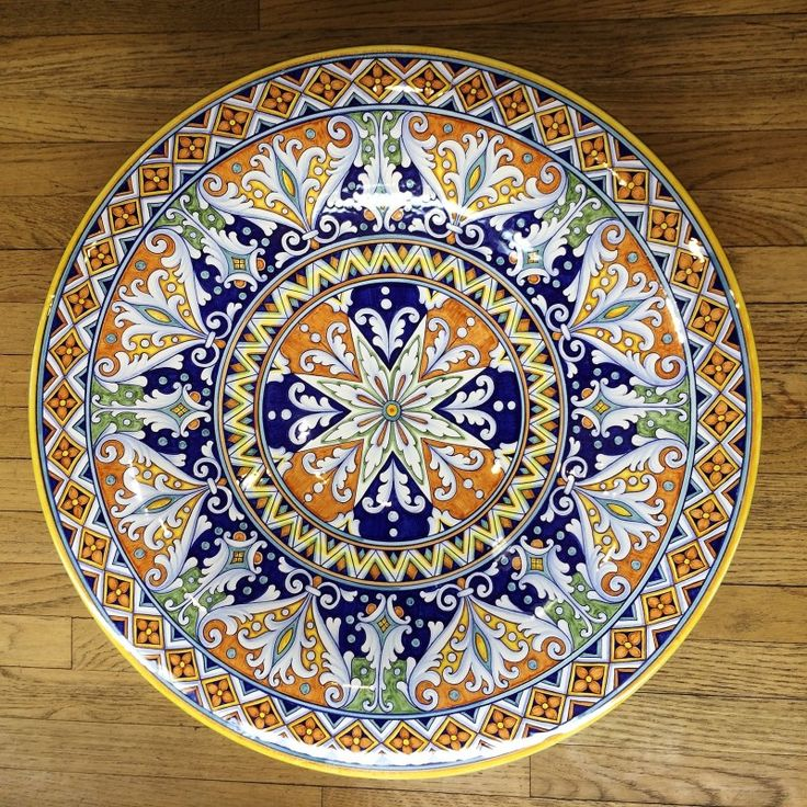 Deruta Geometrico Ornato Large Decorative Platter - An exceptionally fine example of traditional Italian art, this large Italian pottery Ornato platter is destined to become a family heirloom! Such beautiful detail and colors. Handmade and hand painted in Deruta, Italy. Found at the Italian Pottery Outlet in Santa Barbara, CA