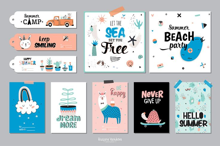 Hi! ♡I have a new cutest set with many different summer stickers, cards and posters, holiday elements and modern patterns for you.All of illustration are 100% hand drawn and will be perfect for greeting cards, kids design, posters, scrapbooking and al…
