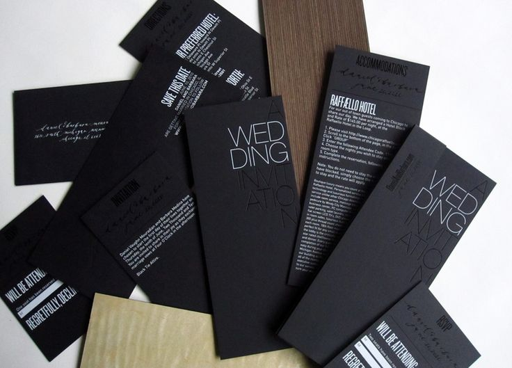 black and white foil stamp text and wood veneer into the invi­ta­tion design, along with gor­geous cal­lig­ra­phy details by Mara from Nei­ther Snow     http://ohsobeautifulpaper.com/2010/10/modern-black-and-white-foil-stamp-wedding-invitations/