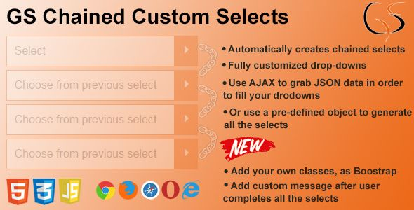 GS Chained Custom Selects . GS Chained Selects provides you with a custom JavaScript class that automatically creates chained selects based on the options