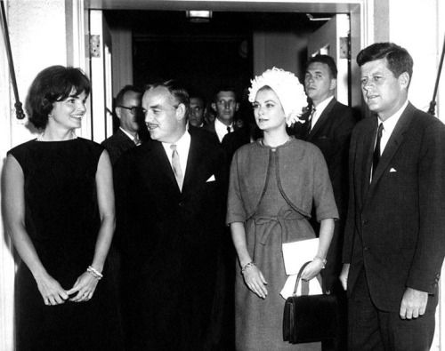 "President Kennedy's favorite movies were all Oscar winners""Roman Holiday"" with Audrey Hepburn, ""Spartacus"" with Kirk Douglas, and ""Sands of Iwo Jima"" with John Wayne. Here's JFK meeting with another Oscar winner, Princess Grace of Monaco, alongside Mrs. Kennedy and Prince Rainier. -from the JFK Library"
