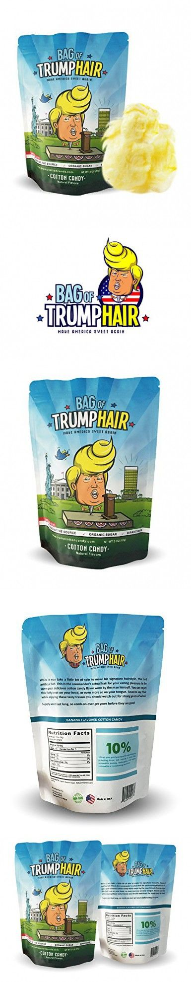 Bag of Trump Hair- The Official Cotton Candy of America (3oz Organic Sugar, Natural Flavoring Cotton Candy) - Unique Gluten Free Gag Gift for Friends, Moms, Dads, Grads, Birthday Boys or Girls