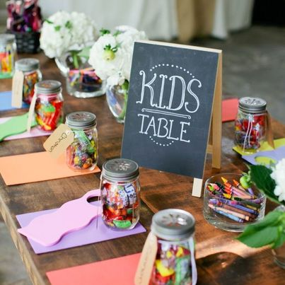We love Style Me Pretty's idea of hosting a kid-friendly wedding with an adorable kids table!
