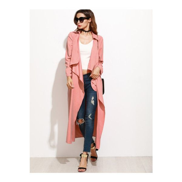 SheIn(sheinside) Pink Faux Suede Waterfall Collar Duster Coat ($23) ❤ liked on Polyvore featuring outerwear, coats, pink, long duster coat, waterfall coat, long coat, duster coat and white coat