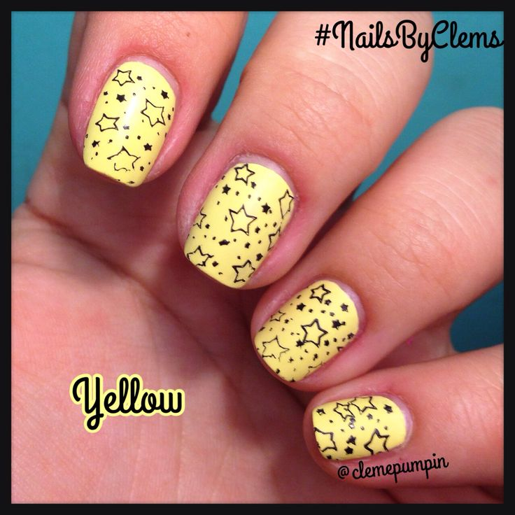 """Hi there! This is my entry for day 3 pf #moyou20k challenge #yellow  used #stampingplate Frenchy 07 by @moyou_london  over mattified """"Mellow"""" by @sparitualist Hope You like it! #stars #estrellas #nails #nailart #notd #notd365nailart #nailsdid #nailartwow #nailstagram #nailartchile #nailartdaily #nailsbyclems #naturalnails #nailartpromote #uñas #unhas"""