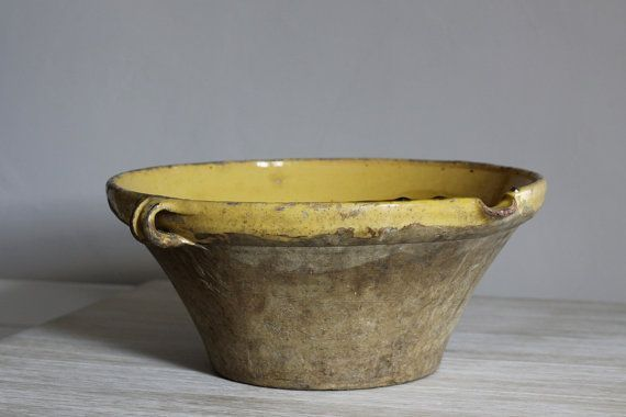 antiek frans aardewerk | French Antique Confit Pot Handmade Glazed Pottery Bowl Ochre 1800's R ...