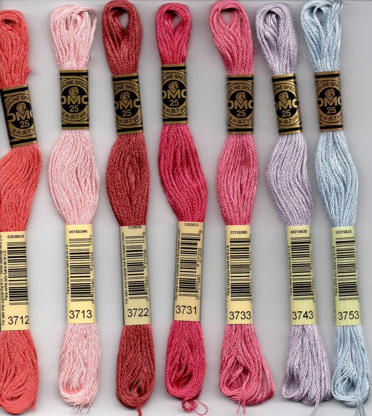 DMC 3712, 3713, 3722, 3731, 3733, 3743, 3753 six stranded embroidery floss at Raspberry Lane Crafts