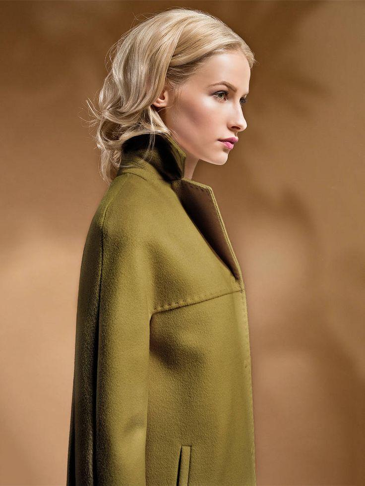 Пальто женское демисезонное цвет оливковый, Пальтовая ткань, артикул 1016430p10045