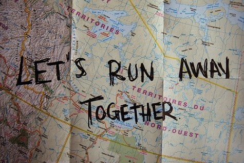 """Fun idea. some vacation or an anniversary. just drive somewhere with """"lets run away together"""" written across the map, because the desination doesn't matter. it's the journey."""