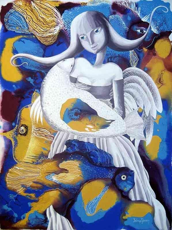 """Sea angel"" - original painting by Yelena Dyumin - www.dyuminart.com"