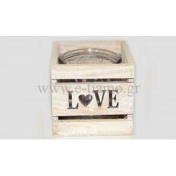 Διακοσμητικό Ξύλινο τετράγωνο κηροπήγειο love με γυάλα Διάσταση: 12x12x11cm