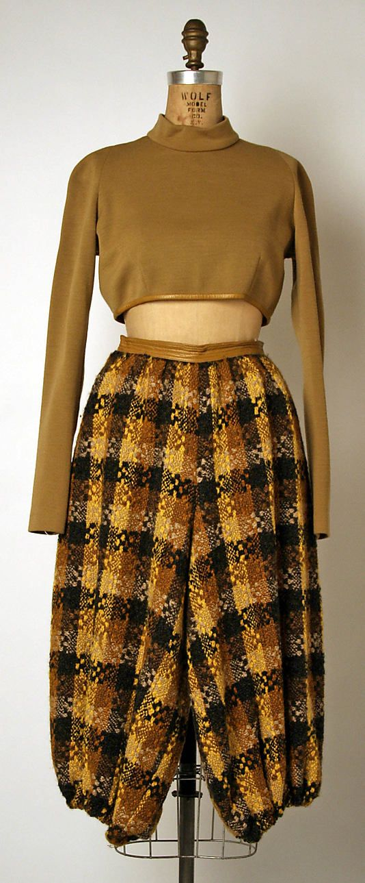 Bonnie Cashin ensemble of wool and leather. Fall/Winter 1968-69. Gift of Helen and Phillip Sills Collection of Bonnie Cashin Clothes, 1979. The Metropolitan Museum of Art online collection.