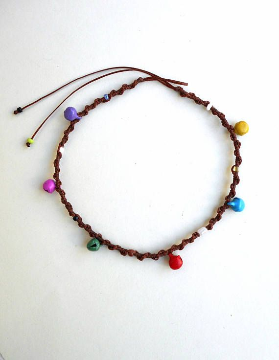 Colorful bell ankletBrown macrame ankletBeach AnkletRinging