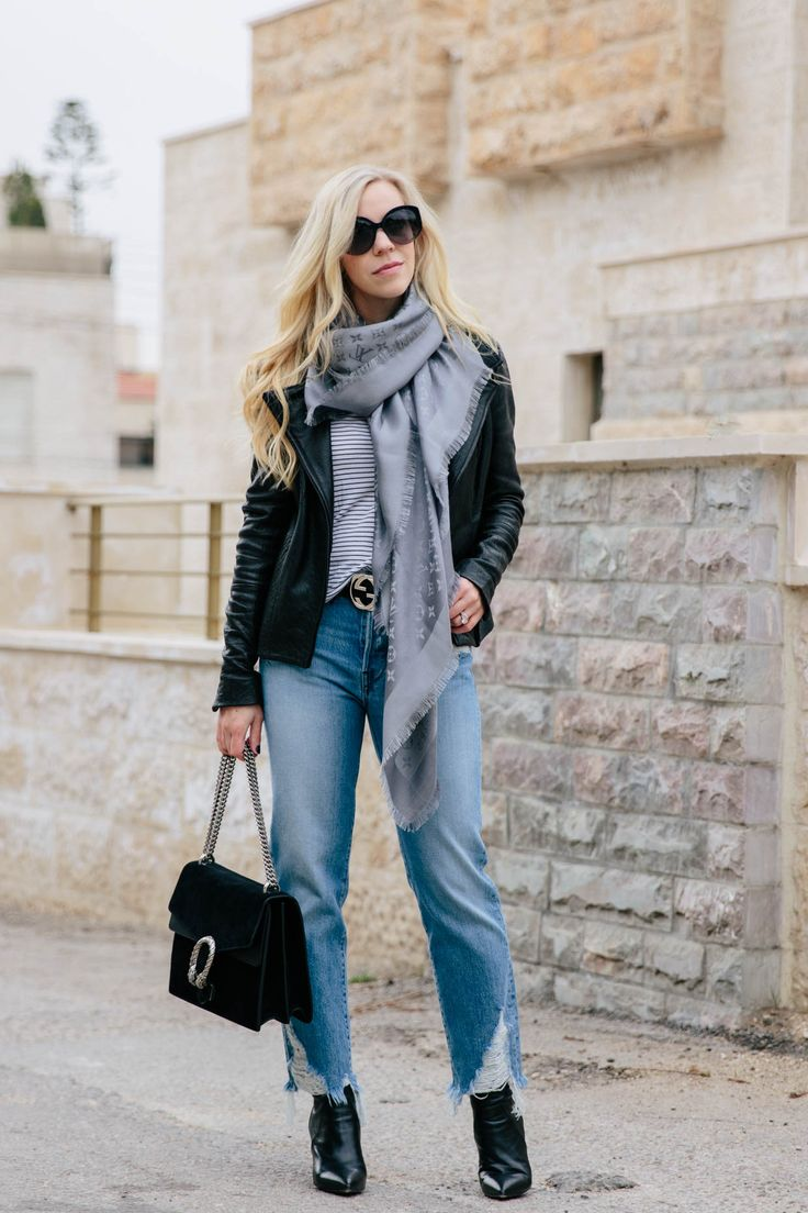 All-Season Layered Look with a Leather Jacket & Straight Leg Jeans: leather jacket with Gucci belt, straight leg jeans and Louis Vuitton gray monogram shawl scarf