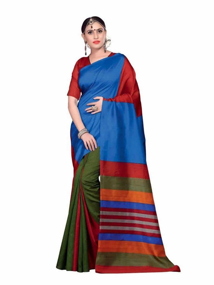 buy saree online Multi Colour Bhagalpuri Silk Printed Causal Saree Buy Saree online - Buy Sarees online