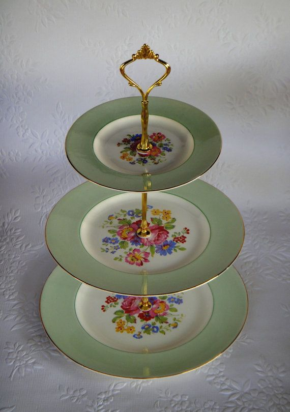 How to make a Vintage 3 Tier Cup Cake Plate Wedding Stand DIY kit Instructions Drill Bit Heavy Crown Handle Fitting Hardware & 100 best Cup cake stands images on Pinterest | Dessert tables Good ...