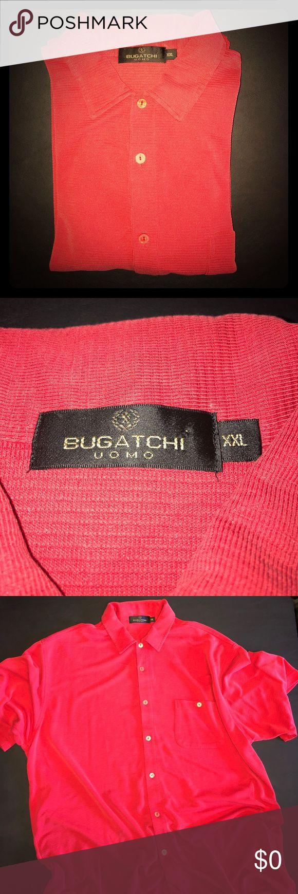 Red Bugatchi shirt NWOT Beautiful Bugatchi shirt that is very soft made with 65% Modal Rayon and 35% Polyester NWOT. Bugatchi Shirts Casual Button Down Shirts