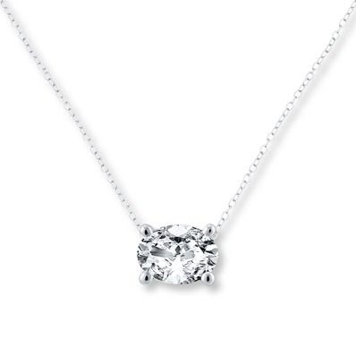 This classic Brilliant Moments 1-carat oval solitaire necklace showcases a small twist to a simple, yet refined, style.