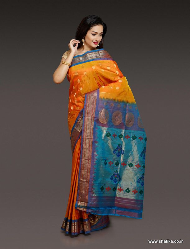 This Renu Rustic Yellow Paithani Silk Saree captures the expression of the wearer in the form of a drape. This is a traditional saree with a flavor of designer yet pure silk. Trend defined by this beautiful Paithani Saree is unargued.