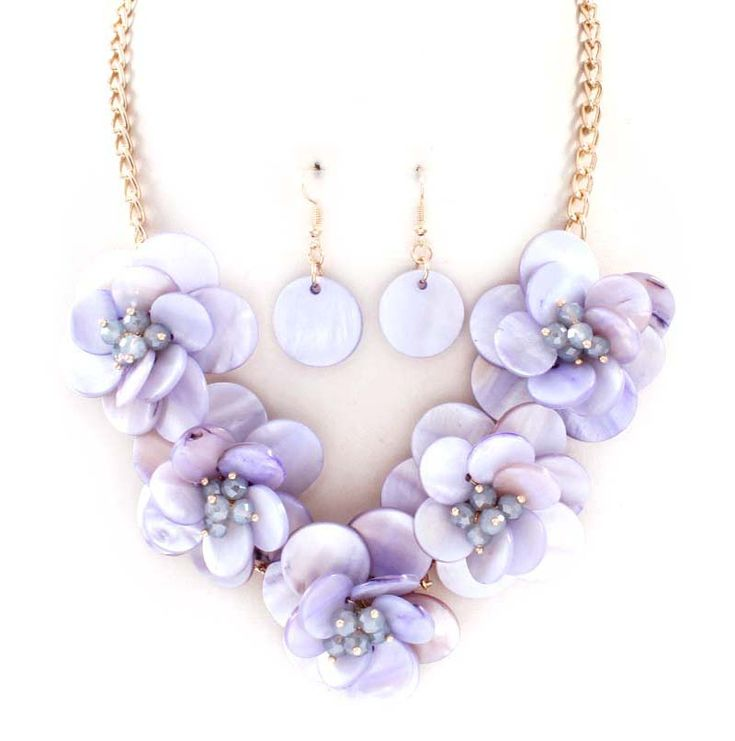 Gloria Necklace in Orchid Mother of Pearl