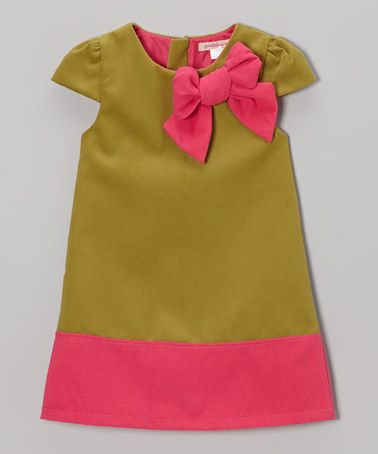 Love this Green & Pink Bow Wool-Blend Cap-Sleeve Dress - Toddler & Girls by Paulinie on #zulily! #zulilyfinds