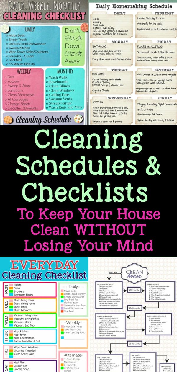 13 Cleaning Checklists To Schedule Your Daily Weekly And Monthly Chores And Cross Them Off Your List Clever Diy Ideas Cleaning Checklist Daily Cleaning Schedule Monthly Cleaning Schedule
