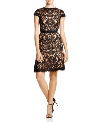 Tadashi Shoji Cap Sleeve Corded Tulle Fit and Flare Dress | Bloomingdale's