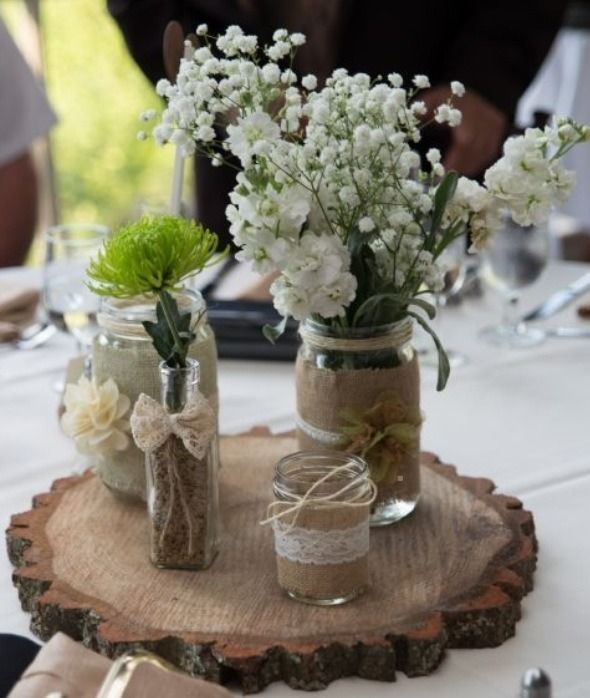 Rustic mason jar wedding centerpiece set of 3 jars for Mason jar wedding centerpiece ideas