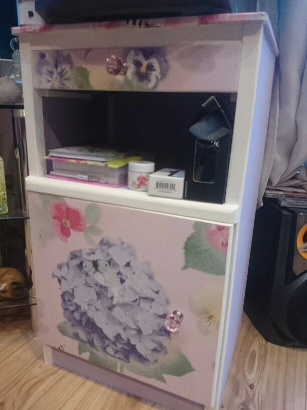 Up cycled old bedside table. Love the paper I used and the cute door handles.