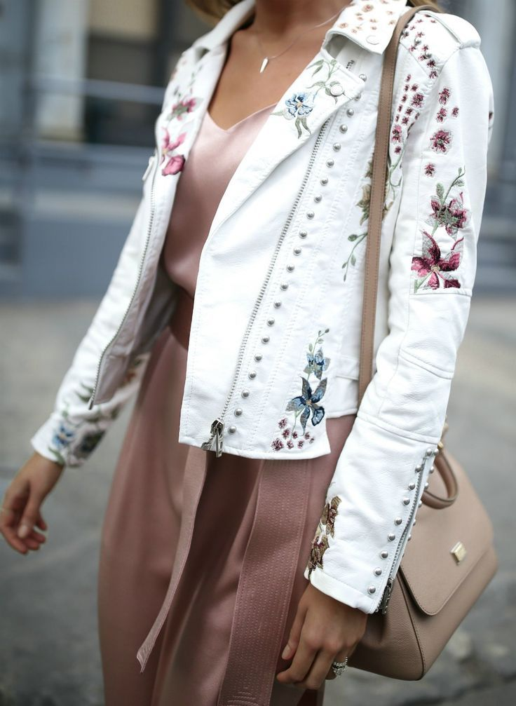 Top 10 Spring Trends to Know // How to Wear Trend #6: Embroidery // click the image for all the details! // floral embroidered white leather moto jacket, blush pink silk satin midi slip dress, nude sandals and bag // halston heritage, blank nyc, dolce gabbana