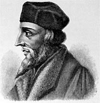 Jan Hus, reformer of the church and martyr.  He was burned at the stake for his beliefs.