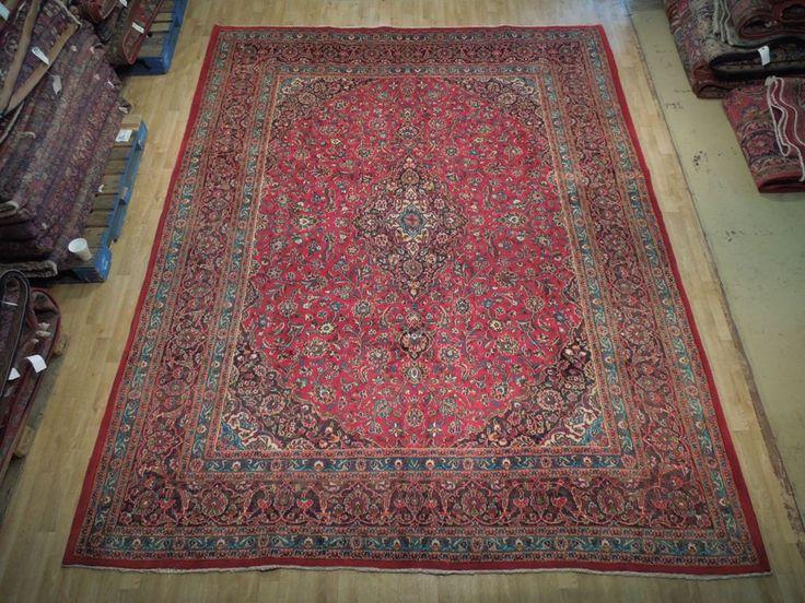 Handmade 10' x 13' Used Persian Kashan Genuine Oriental Rugs For Sale Rug