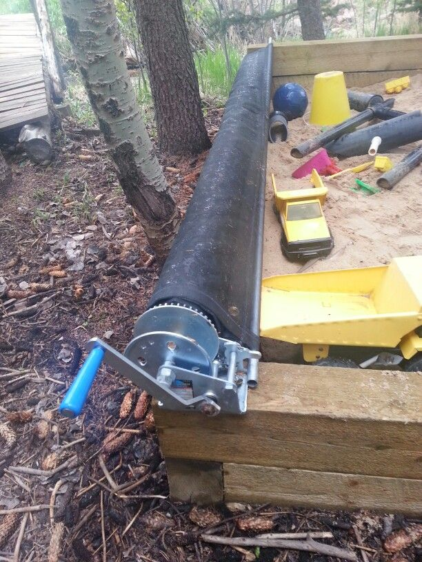 Sandbox Cover. Window Screen Sewn Snd Attached To Pvc Pipe With Hand Crank  Winch To