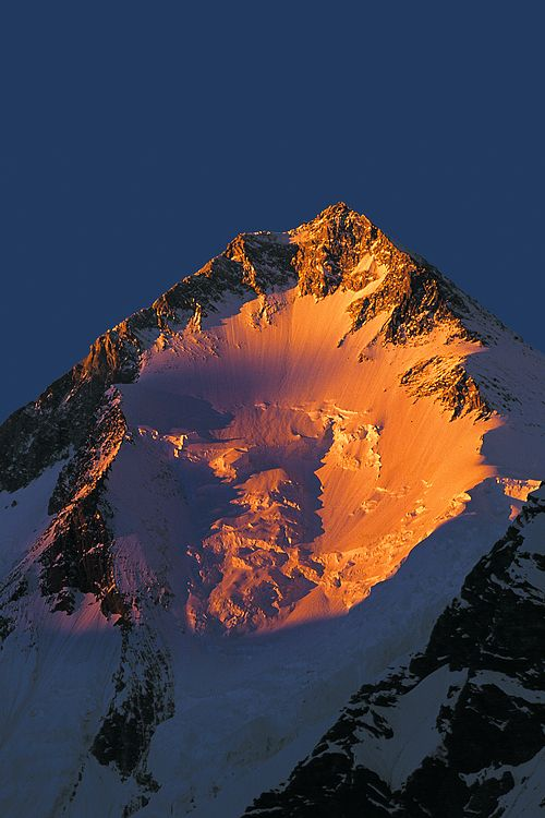 Gasherbrum I 8068m.. (by Atif Saeed) Also known as Hidden Peak or K5, is the 11th highest peak on Earth, located on the Pakistani–Chinese border in Gilgit–Baltistan region of Pakistan.