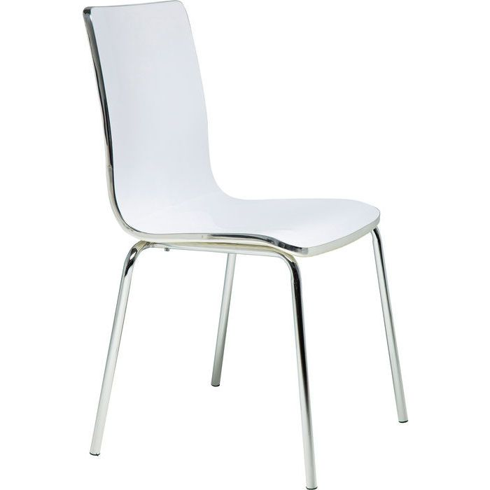 Chair Dimensionale White - KARE Design #kare #karedesign #chair #white #glossy #modern #iron #chrome #high-gloss #weiß #stuhl #glänzend