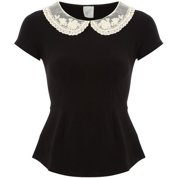 G21 Crochet Collar Peplum Top Women George at Asda ($29) ❤ liked on Polyvore
