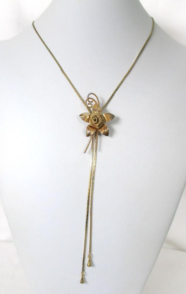 Ladies Delicate Vintage Gold Tone Bolo Mesh Rose Flower Slide Necklace Necklace Vintage Gold Pendant