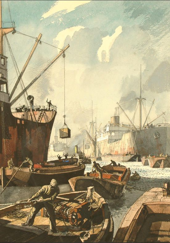 Port of London - Rowland Hilder. As a student Hilder excelled in line drawings of Thames-side rivercraft.