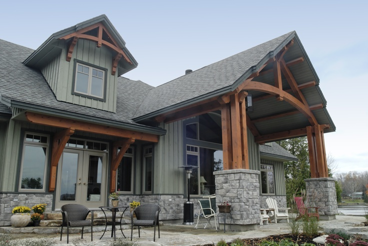Beautiful Timber Frame Detail on the Back of our Stoney Lake Model Home #TimberFrame #Log #Custom #StoneyLake #DiscoveryDreamHomes