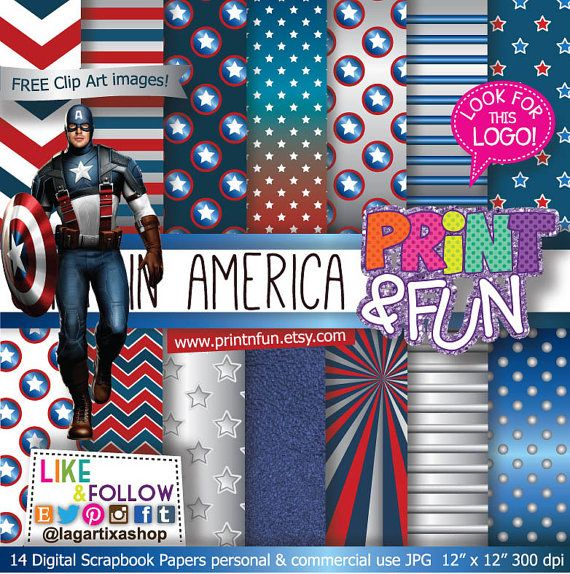 Captain America Patterns Digital Paper Avengers Marvel Metallic Silver stars red blue clip art clipart png invitations printables party on Etsy, $3.99