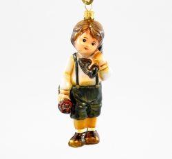 Świąteczna rozmowa - Mały chłopiec - Polskie bombki ręcznie malowane - sklep z ozdobami choinkowymi Komozja Family
