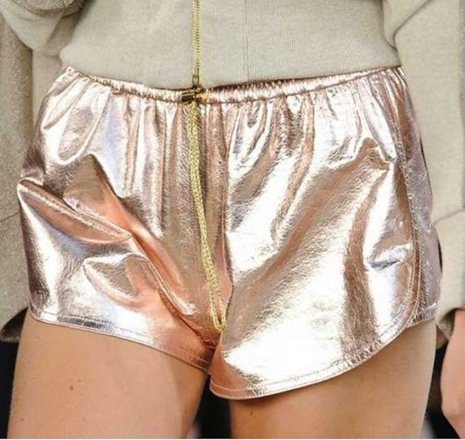 metallic leather track shorts