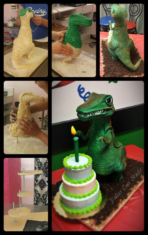 Rice Krispies Dinosaur Sculpture With Birthday Cake