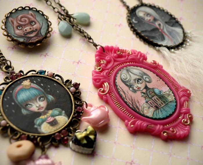 Reserved for Sara - Cupcake Queen.  Original cameo necklace. fine art miniature. pop surrealism by KarolinFelix