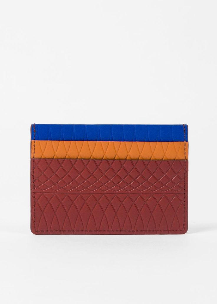 Paul Smith No.9 - Men's Brick Red Leather Card Holder With Multi-Coloured Card Slots