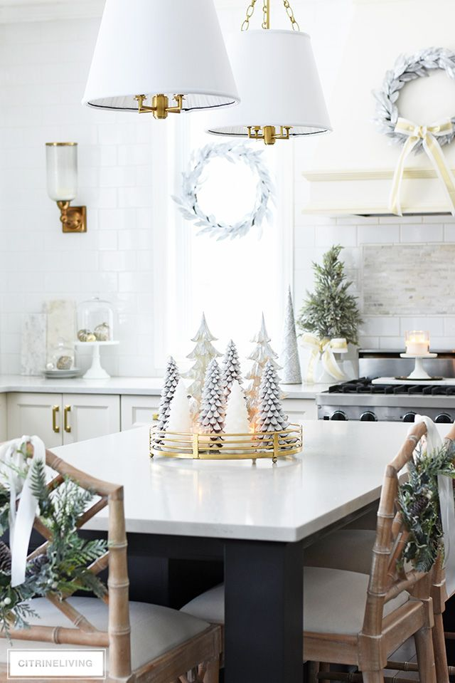 christmas kitchen decorating silver gold greenery christmas table decorations christmas on kitchen xmas decor id=28289