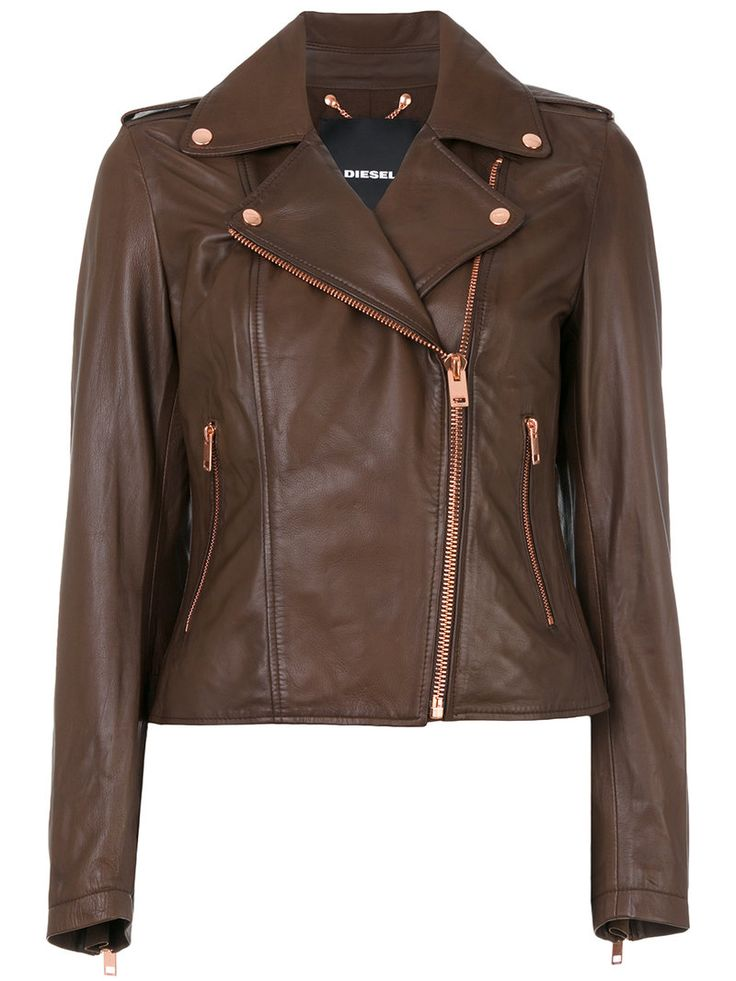 ¡Cómpralo ya!. Diesel - Cropped Biker Jacket - Women - Cotton/Lamb Skin - L. Dark brown leather cropped biker jacket from Diesel. Size: L. Gender: Female. Material: Cotton/Lamb Skin. , chaquetadecuero, polipiel, biker, ante, antelina, chupa, decuero, leather, suede, suedette, fauxleather, chaquetadecuero, lederjacke, chaquetadecuero, vesteencuir, giaccaincuio, piel. Chaqueta de cuero  de mujer color marrón oscuro de Diesel.