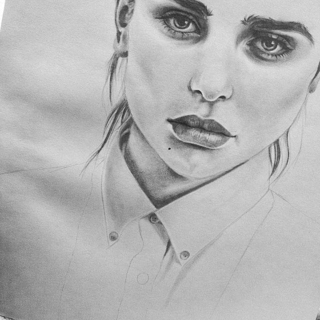Portrait sketch pretty girl drawn sketched pinterest for Pretty sketches