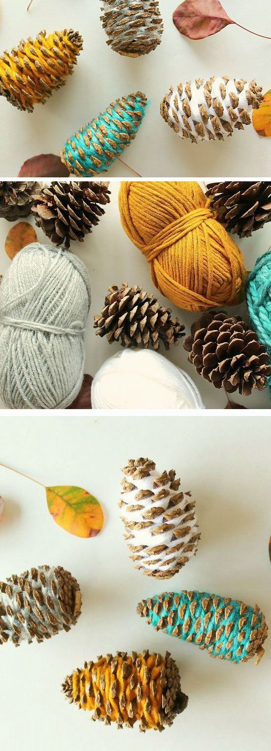 Yarn Wrapped Pinecones | 24 DIY Fall Crafts for Kids to Make that you will want to make too!