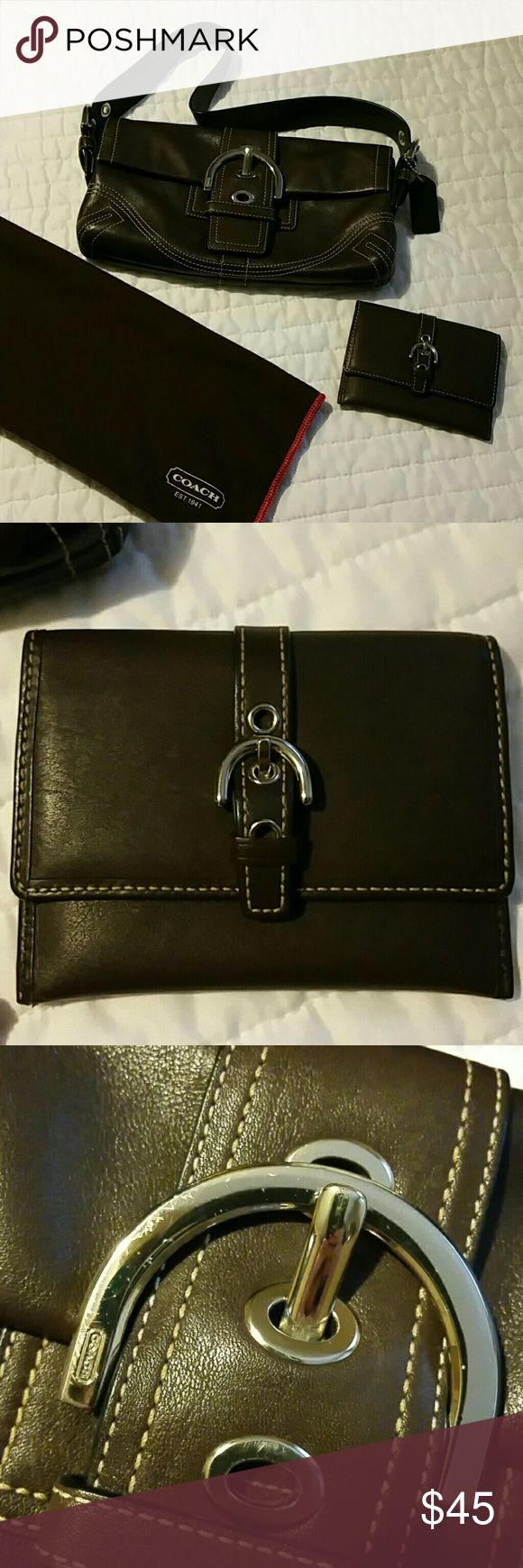 Coach purse Beautiful chocolate brown leather authentic coach purse. Great size for going out and about.Measures approx. 10 in long x 6in high. Magnetic button closure. Has small zipped pocket, one small open pocket and a small separate compartment in the back.  Comes with card holder. Leather is in excellent condition but there is a bit of wear on the front buckle. Also includes storage bag. Very pretty just too small for all the stuff I carry daily. Coach Bags